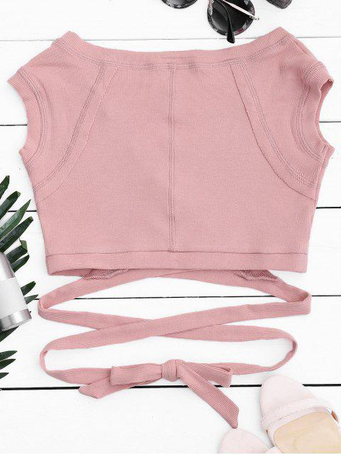 Crossover Ribbed Wrap Top - ROSE PÂLE M Mobile
