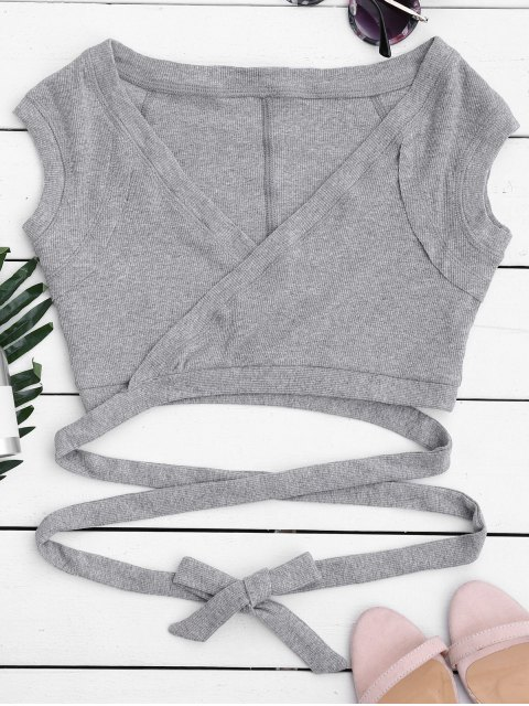 trendy Crossover Ribbed Wrap Top - GRAY S Mobile