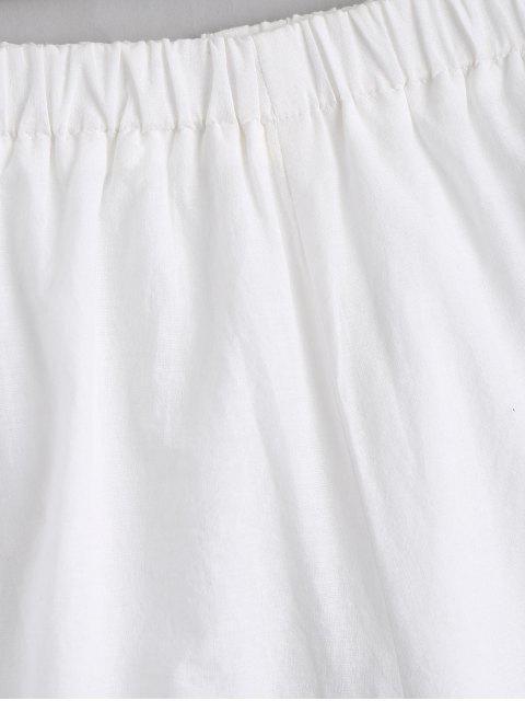 Pantalons brodés à la main - Blanc S Mobile