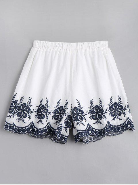 affordable Floral Embroidered High Waisted Shorts - WHITE M Mobile