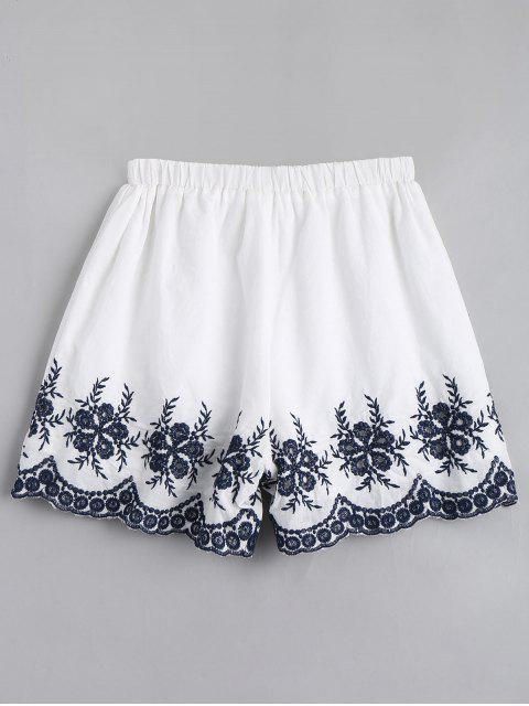 Pantalons brodés à la main - Blanc XL Mobile