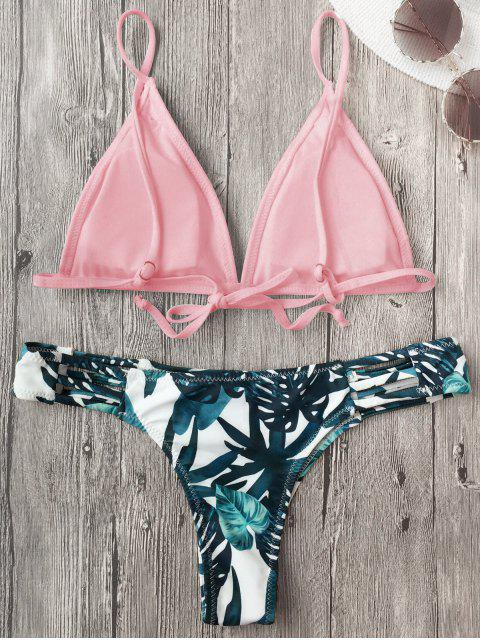 hot Cut Out Padded Leaf Print Bathing Suit - PINK M Mobile