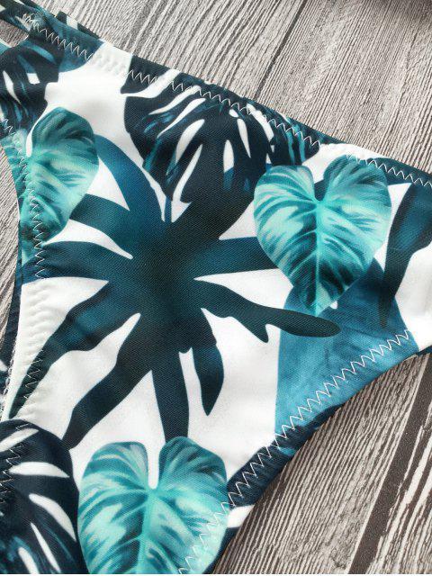 shops Cut Out Padded Leaf Print Bathing Suit - BLACK S Mobile