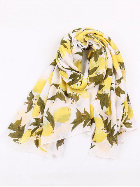 Écharpe en mousseline à coiffe en coton mélangé - Jaune  Mobile