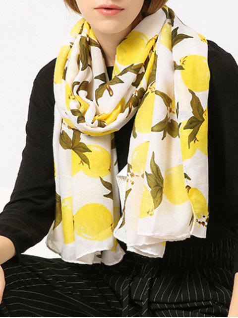 Schal aus Baumwollemischung mit Lemondruck - Gelb  Mobile