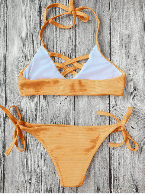 sale Strappy Ribbed Texture String Bikini - GINGER 5T Mobile