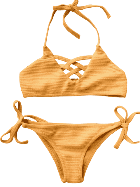 affordable Strappy Ribbed Texture String Bikini - GINGER 6T Mobile