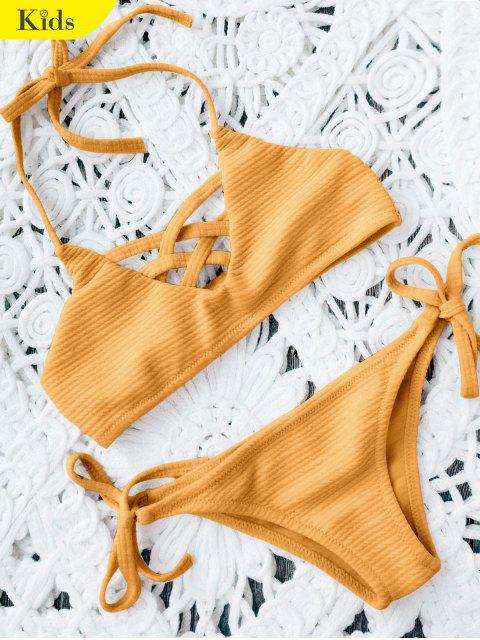 Strappy Ribbed Texture String Bikini - Ingwer-Gelb 7T Mobile