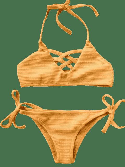 buy Strappy Ribbed Texture String Bikini - GINGER 7T Mobile