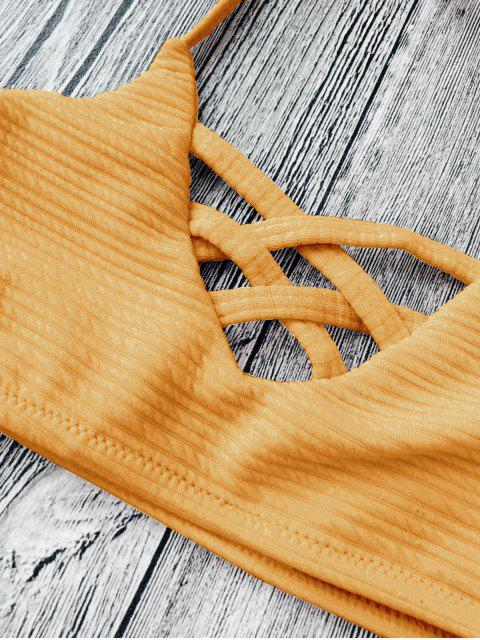 womens Strappy Ribbed Texture String Bikini - GINGER 8T Mobile