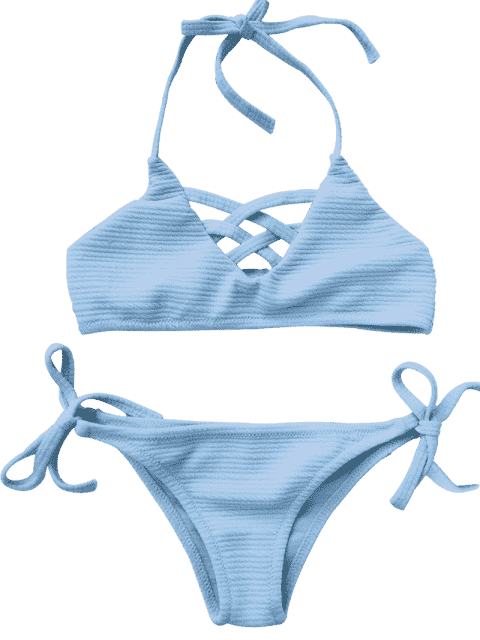 women Strappy Ribbed Texture String Bikini - AZURE 4T Mobile