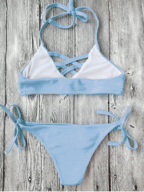 ladies Strappy Ribbed Texture String Bikini - AZURE 6T Mobile