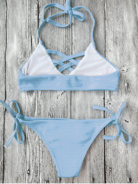 best Strappy Ribbed Texture String Bikini - AZURE 8T Mobile