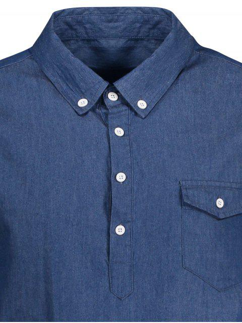 outfit Pocket Short Sleeve Denim Shirt - BLUE XL Mobile