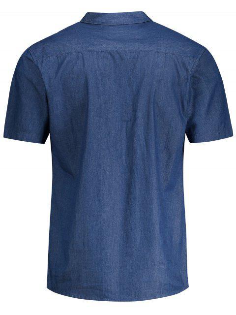 latest Pocket Short Sleeve Denim Shirt - BLUE 2XL Mobile