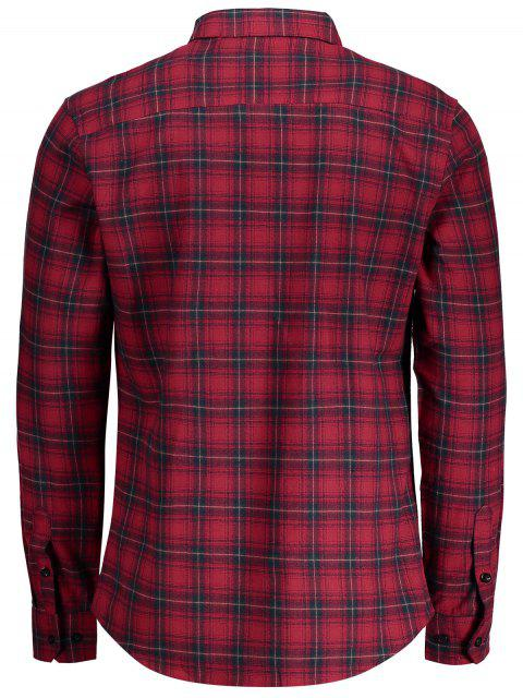 trendy Checked Button Up Shirt - RED 2XL Mobile