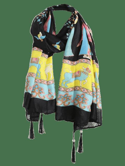 hot Tassels Ethnic Figure Pattern Shawl Scarf - BLACK  Mobile