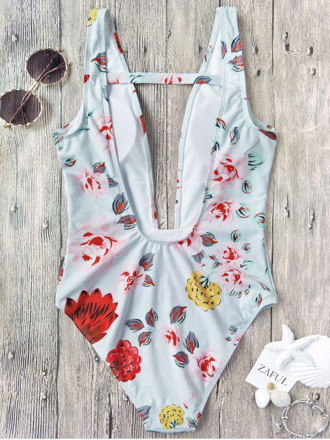 latest One Piece Plunging High Cut Floral Swimwear - WHITE L Mobile