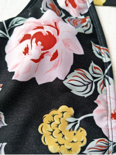 Maillot de Bain 1 Pièce Décolleté Plongeant Floral - Noir L Mobile