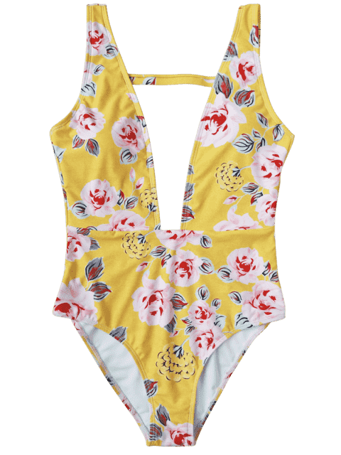 affordable One Piece Plunging High Cut Floral Swimwear - YELLOW M Mobile