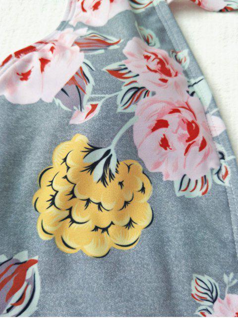 Maillot de Bain 1 Pièce Décolleté Plongeant Floral - Gris L Mobile