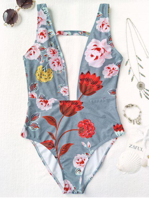 Maillot de Bain 1 Pièce Décolleté Plongeant Floral - Gris M Mobile