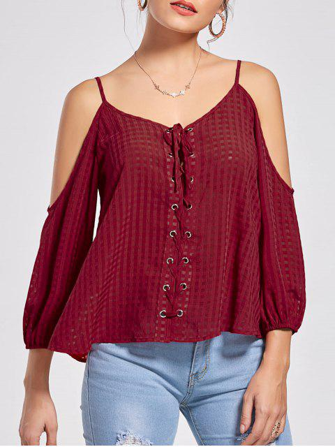 fancy Lace Up Cold Shoulder Blouse - WINE RED M Mobile