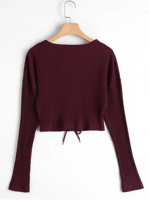 best Lace Up Ribbed Knitted Crop Tee - CLARET S Mobile