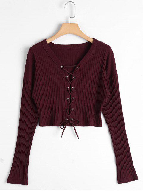 hot Lace Up Ribbed Knitted Crop Tee - CLARET XL Mobile