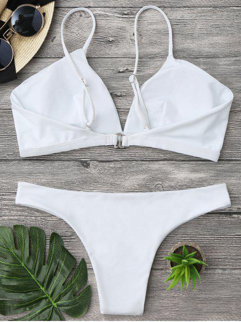 outfits Padded Cami Plunge Bathing Suit - WHITE XL Mobile