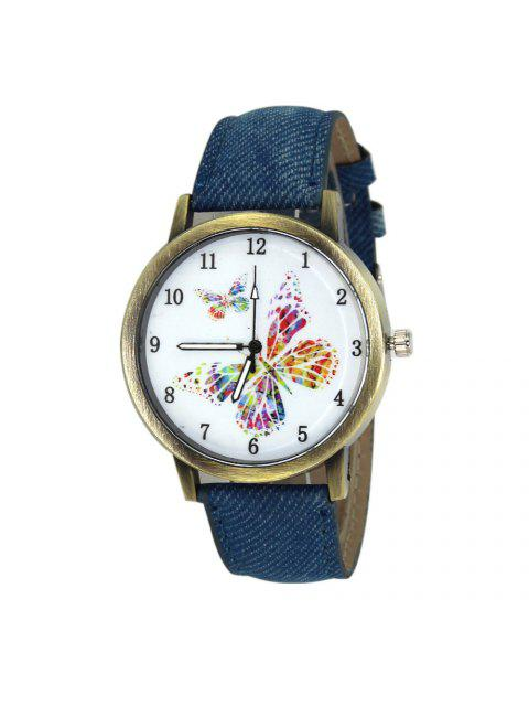 Faux Leather Strap Butterfly Face Watch - Bleu  Mobile