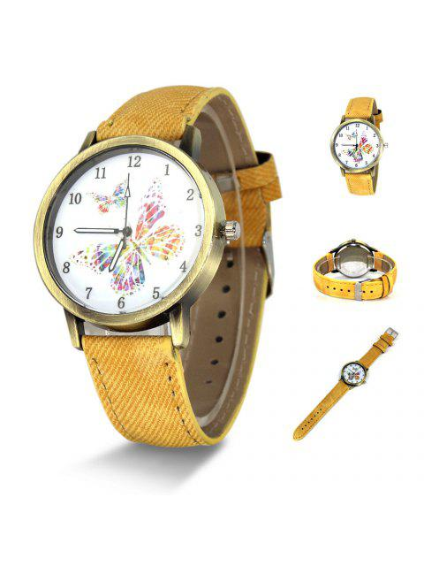 Faux Leather Strap Butterfly Face Watch - Jaune  Mobile