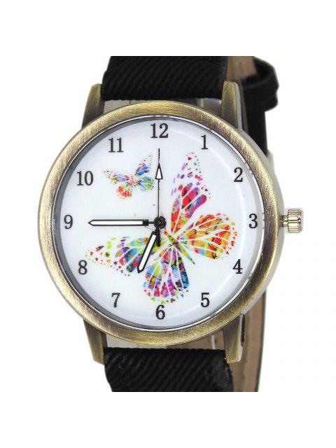 fashion Faux Leather Strap Butterfly Face Watch - BLACK  Mobile