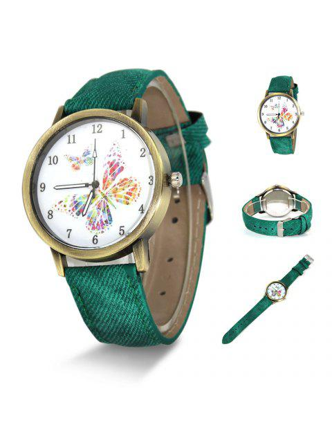 Faux Leather Strap Butterfly Face Watch - Vert  Mobile