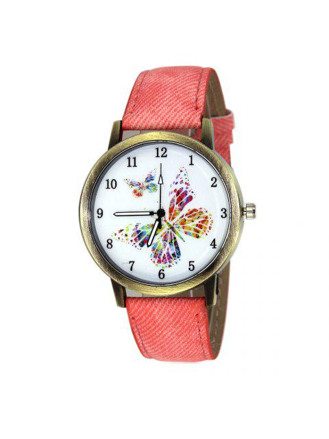 fancy Faux Leather Strap Butterfly Face Watch - PINK  Mobile