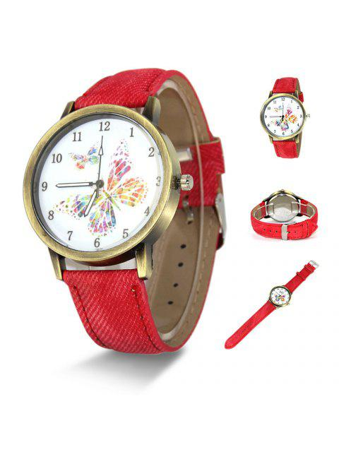 Faux Leather Strap Butterfly Face Watch - Rouge  Mobile
