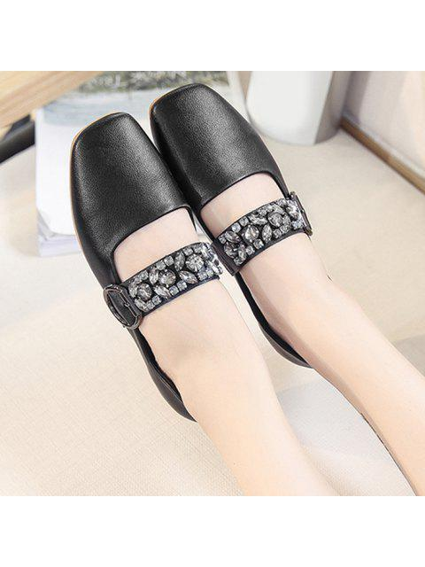 hot Rhinestone Buckle Strap Low Heel Flats - BLACK 38 Mobile