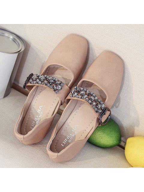 outfit Rhinestone Buckle Strap Low Heel Flats - PINK 39 Mobile