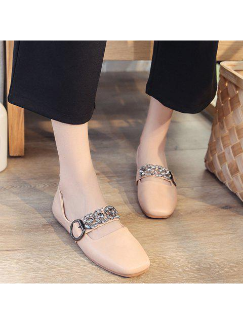 shop Rhinestone Buckle Strap Low Heel Flats - PINK 38 Mobile