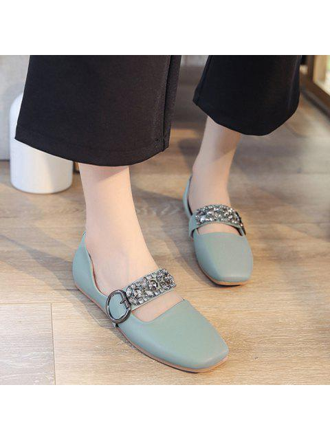 trendy Rhinestone Buckle Strap Low Heel Flats - GREEN 38 Mobile