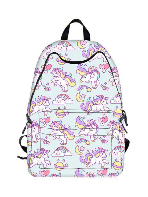 Sac à dos Cartoon Unicorn Print - Bleu clair  Mobile