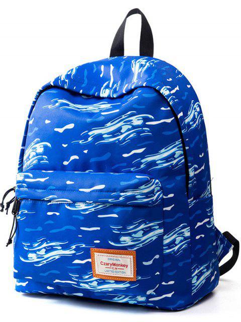 online Casual Printed Nylon Backpack - OCEAN BLUE  Mobile