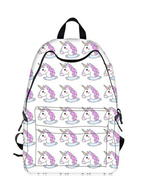 Sac à dos Cartoon Unicorn Print - Blanc  Mobile
