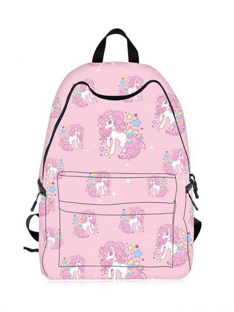 Sac à dos Cartoon Unicorn Print - ROSE PÂLE  Mobile