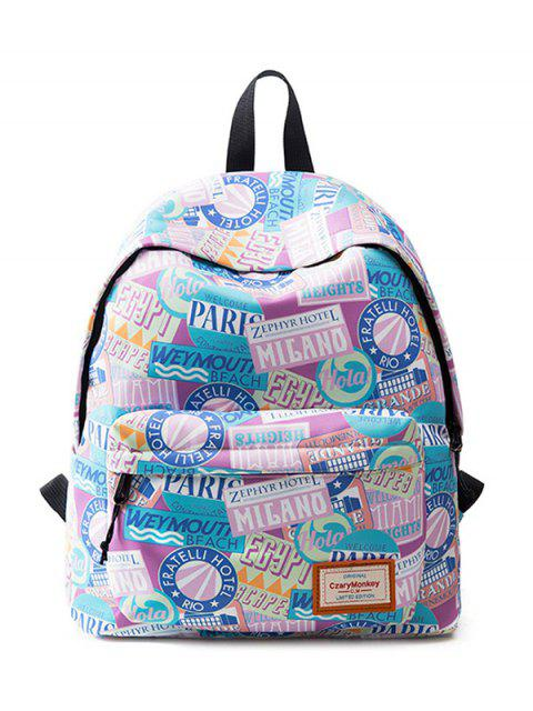 shops Casual Printed Nylon Backpack - PINK  Mobile