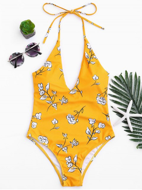 shops Printed V Neck Slimming One Piece Swimsuit - MUSTARD S Mobile