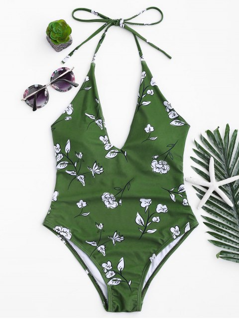 online Printed V Neck Slimming One Piece Swimsuit - GREEN S Mobile