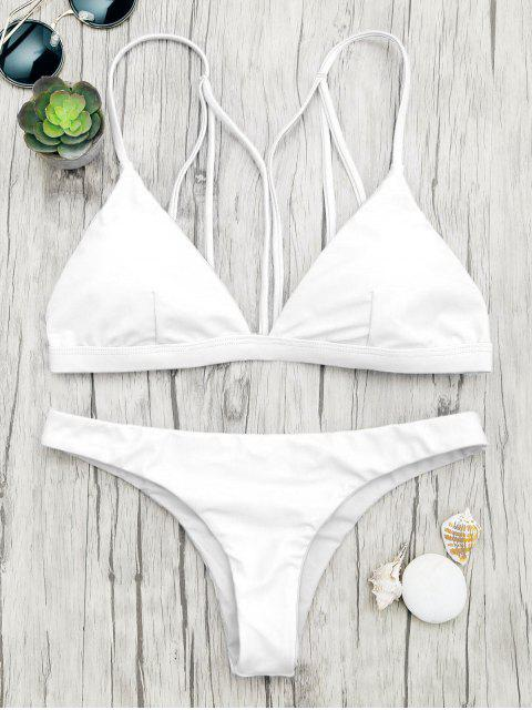 ladies Padded Back Strappy Bathing Suit - WHITE L Mobile