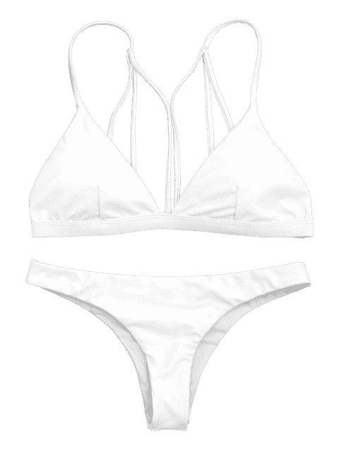 online Padded Back Strappy Bathing Suit - WHITE S Mobile