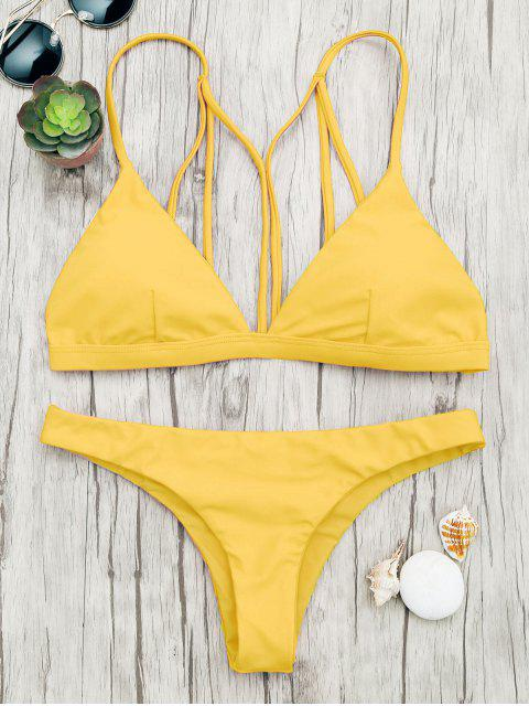ladies Padded Back Strappy Bathing Suit - YELLOW S Mobile